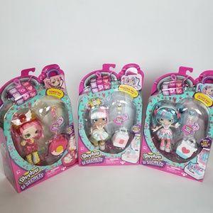 Shopkins lil secrets lot of 3 dolls